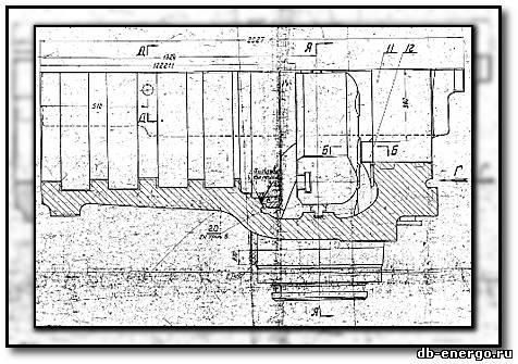 Чертеж Б-821-03СБ2 Корпус внутренний ЦВД нижняя половина(сварка) турбины К-500-240-2 ХТГЗ